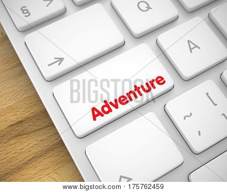Adventure Key on Conceptual Keyboard. High Quality Render of a Modern Keyboard Key. The Keypad is White in Color and there is Message Adventure on It. Keyboard is sitting on Wood Background. 3D.