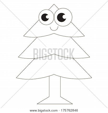 Funny Evergreen Tree cartoon. Outlined object with black stroke.