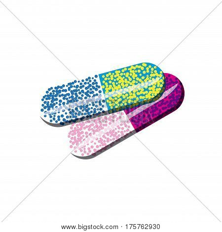 color capsules medication icon, vector illustraction design