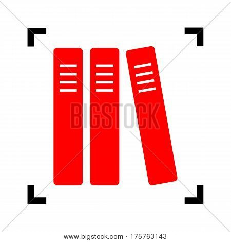 Row of binders, office folders icon. Vector. Red icon inside black focus corners on white background. Isolated.