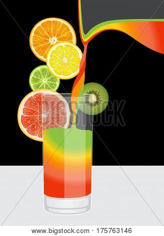 A composition of citrus fruits and glass on a black and white background
