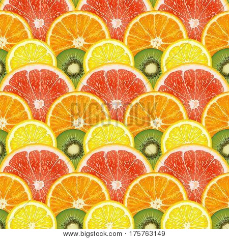 Decorative pattern of citrus fruits and kiwi