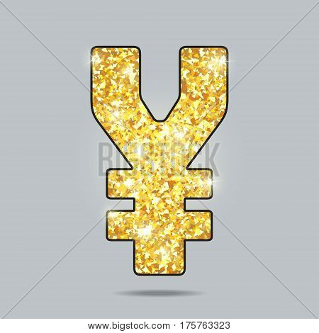 shiny golden sign of a yen currency with sparks and glow, levitating in gray space, pure miracle
