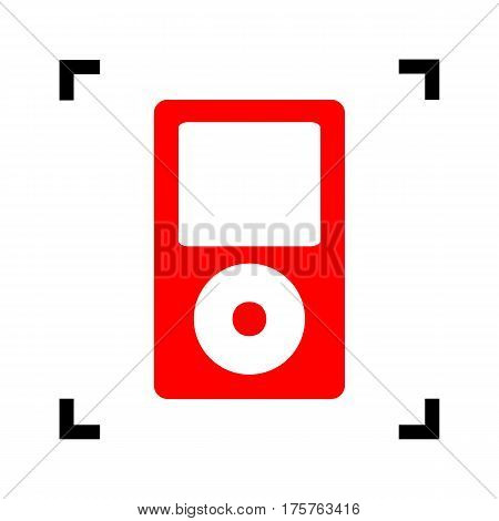 Portable music device. Vector. Red icon inside black focus corners on white background. Isolated.