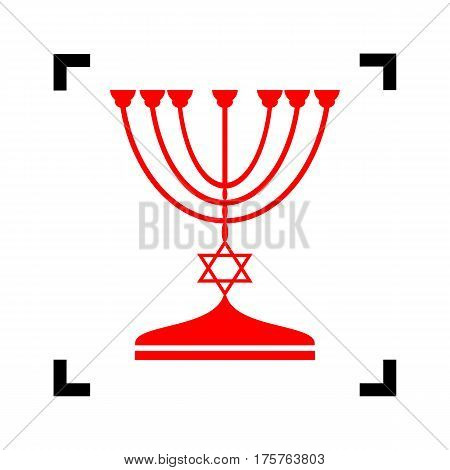 Jewish Menorah candlestick in black silhouette. Vector. Red icon inside black focus corners on white background. Isolated.