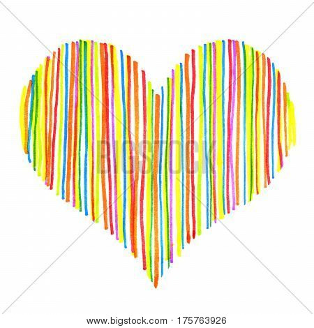 Bright striped abstract heart isolated on white background