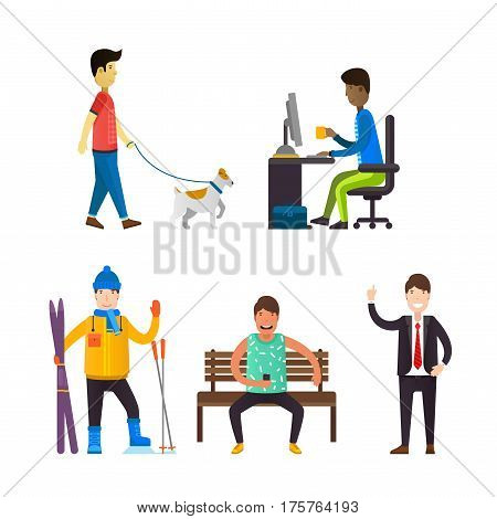 Man walking with dog. Business person sitting on the computer. Skier with equipment. Young man sitting on a bench.
