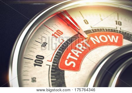 Conceptual Illustration of a Manometer with Red Needle Pointing to Maximum of Start Now. Horizontal image. Start Now - Conceptual Scale with Red Message on It. Horizontal image. 3D.