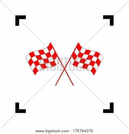 Crossed checkered flags logo waving in the wind conceptual of motor sport. Vector. Red icon inside black focus corners on white background. Isolated.