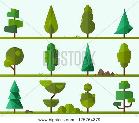 Collection of geometric trees, pine trees, grass and other type of plants. Vector illustrator