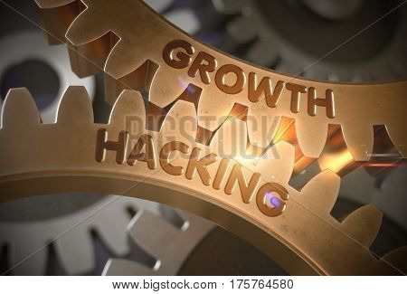 Growth Hacking on the Mechanism of Golden Gears with Glow Effect. Growth Hacking on the Mechanism of Golden Cogwheels. 3D Rendering.