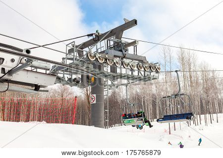 SAMARA RUSSIA - MARCH 5 2017: Chairlift in