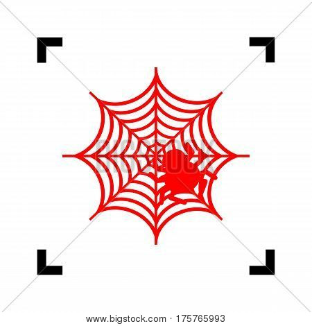 Spider on web illustration Vector. Red icon inside black focus corners on white background. Isolated.