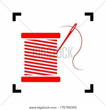 Thread with needle sign illustration. Vector. Red icon inside black focus corners on white background. Isolated.