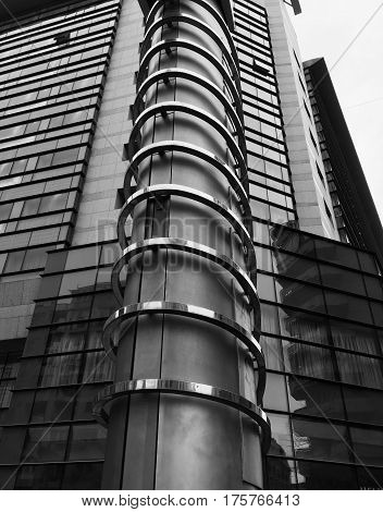 Black And White Modern Steel Glass Building.