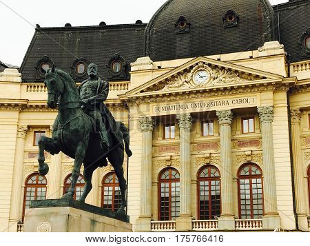 King Carol Statue National Library Bucharest Romania