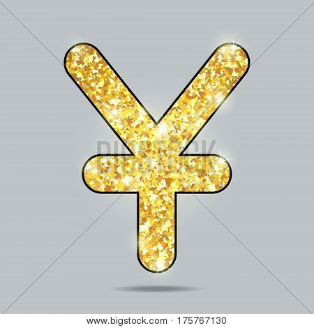 shiny golden yuan sign with sparks and glow, levitating in gray space, pure miracle
