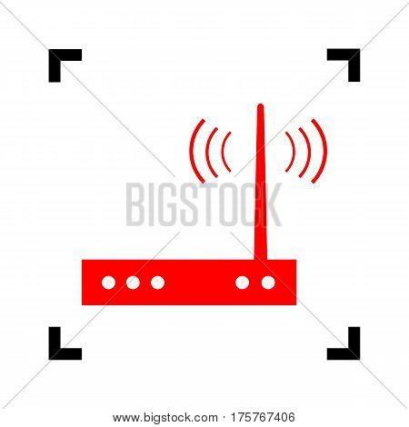 Wifi modem sign. Vector. Red icon inside black focus corners on white background. Isolated.