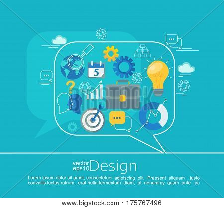 Consulting Concepts Design. Infographic in line style with flat set business icon, vector illustration.