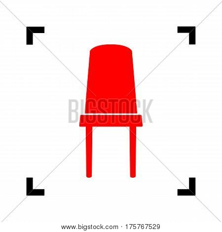 Office chair sign. Vector. Red icon inside black focus corners on white background. Isolated.
