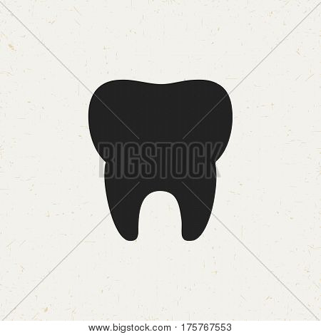 Flat monochrome tooth icon in vintage style. Isolated tooth icon for use in variety of projects. Black and white vector tooth icon for web sites and apps.