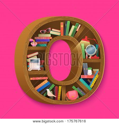 Book pink cover symbolizing women's literature. Bookcase shaped letter O. Vector drawn for shirt, funny card