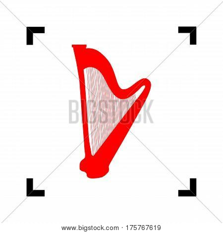 Musical instrument harp sign. Vector. Red icon inside black focus corners on white background. Isolated.