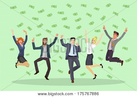 happy business people jumping and dancing under money rain