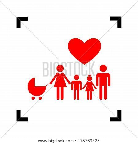 Family sign with heart. Husband and wife are kept children's hands. Vector. Red icon inside black focus corners on white background. Isolated.