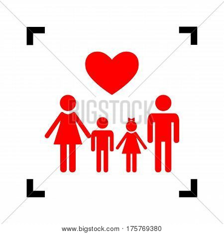 Family symbol with heart. Husband and wife are kept children's hands. Vector. Red icon inside black focus corners on white background. Isolated.