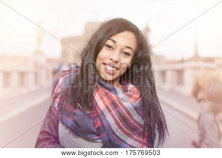 Happy Smiling Long Hair Girl In Rome