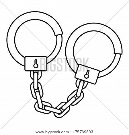 Handcuffs icon. Outline illustration of handcuffs vector icon for web
