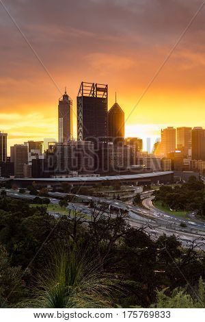 Sunrise over the city skyline of Perth, Western Australia. June 10th, 2016.