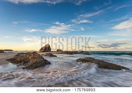 Late afternoon light at Elephant Rock, Currumbin, on the Gold Coast of Queensland, Australia.