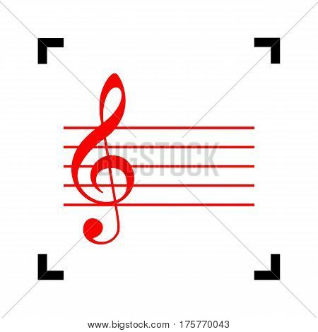 Music violin clef sign. G-clef. Vector. Red icon inside black focus corners on white background. Isolated.