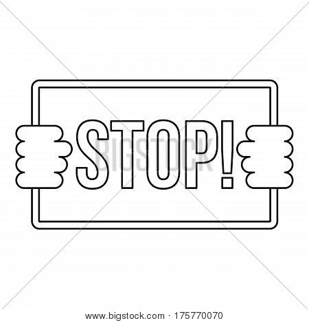 Stop icon. Outline illustration of stop vector icon for web