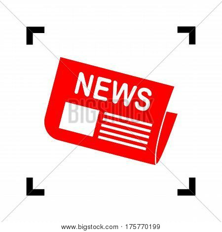 Newspaper sign. Vector. Red icon inside black focus corners on white background. Isolated.