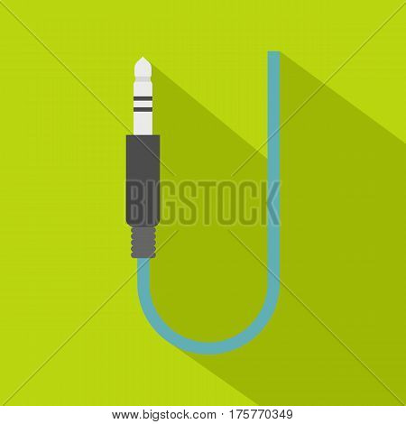 Microphone wire icon. Flat illustration of microphone wire vector icon for web