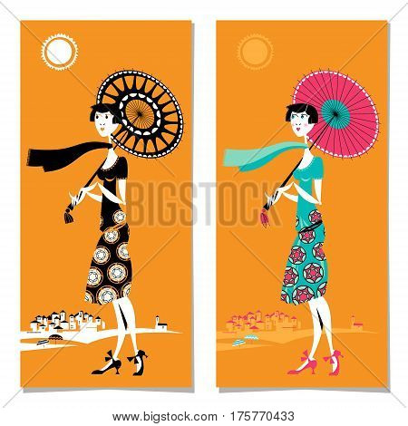 Set of cards with young woman with umbrella at the resort. Art deco. Retro. Summer. Vector illustration