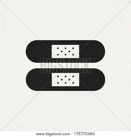 Flat monochrome patch icon in vintage style. Isolated patch icon for use in variety of projects. Black and white vector patch icon for web sites and apps.