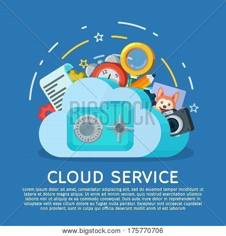 Cloud computing services banner in flat style. Networking communication and data icons. Data provision and cloud computing services. Protection of personal data. Safe with lock. Vector illustration.