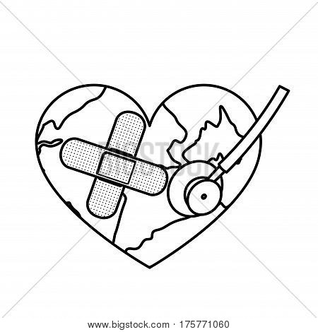figure earth planet heart with stethoscope and band aid icon . Vector illustration