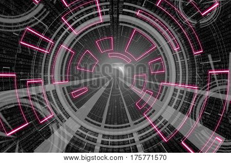 Gray Nad Red Circular Glow Wave. Scifi Or Game Background.
