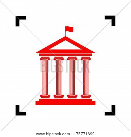Historical building with flag. Vector. Red icon inside black focus corners on white background. Isolated.