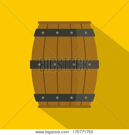 Wooden barrel icon. Flat illustration of wooden barrel vector icon for web