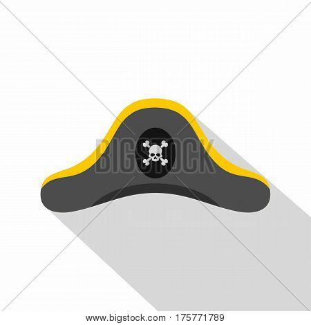 Pirate hat icon. Flat illustration of pirate hat vector icon for web