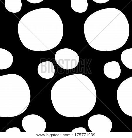 Abstract spot pattern with hand drawn spots. Cute vector black and white spot pattern. Seamless monochrome spot pattern for fabric, wallpapers, wrapping paper, cards and web backgrounds.