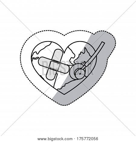 contour earth planet heart with stethoscope and band aid icon . Vector illustration