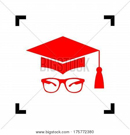 Mortar Board or Graduation Cap with glass. Vector. Red icon inside black focus corners on white background. Isolated.