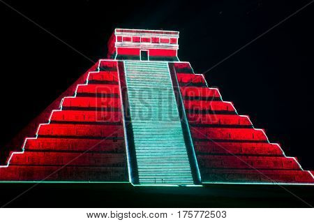 Light Show On Mayan Pyramid In Chichen Itza. Mexico,